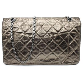 Chanel-Chanel 2.55 Aged Golden Leather-Golden,Metallic