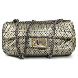 Chanel-Chanel 2,55 Sac à bandoulière Perforé-Doré,Métallisé