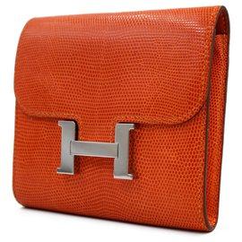 Hermès-Portefeuille Hermès Constance-Orange,Corail