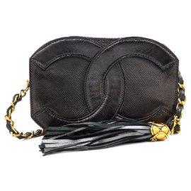Chanel-Chanel Mini Lizard Logo Hand Bag-Black