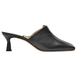 Wandler-Isa Mules Chain in Black Leather-Black