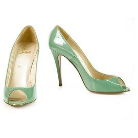 Christian Louboutin-Christian Louboutin Turqoise Patent Leather Very Prive Stiletto Heels Peeptoe 41-Turquoise