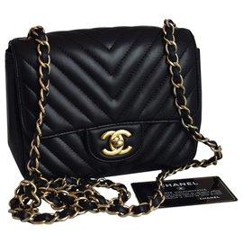 Chanel-Timeless Classic Square Mini Black Chevron Flap Bag-Black