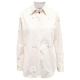 Thom Browne-Pink Shirt with Embroidery-Pink