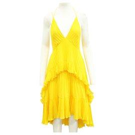 Halston Heritage-Yellow Pleated Dress-Yellow