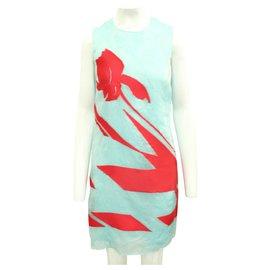 Dior-Robe élégante turquoise et rouge-Bleu