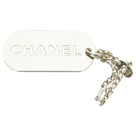 Chanel-Chanel Silver Logo Plate Key Chain-Silvery