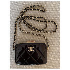Chanel-Black Patent Leather Small Box with Chain-Black