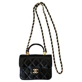 Chanel-Runway Schwarzes Geldbörse aus Lammleder mit Klappe und Kette-Schwarz