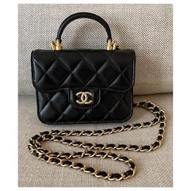Chanel-Porta-moedas com aba de pele de cordeiro preta para passarela e corrente-Preto