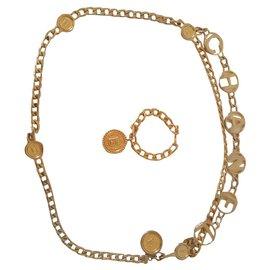 Chanel-Chanel belt and bracelet set-Golden