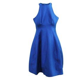 Halston Heritage-Blue Halter Neck Dress-Blue