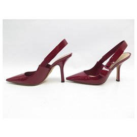 Christian Dior-NEW CHRISTIAN DIOR PUMPS SWEET-D 38 IN SCARLET PATENT LEATHER-Red