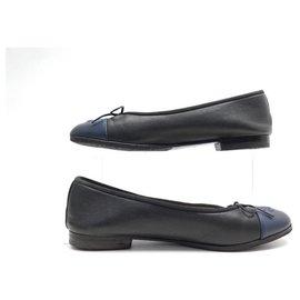 Chanel-CHANEL LOGO CC G SHOES02819 37.5 BLACK LEATHER SHOES BALLET FLATS-Black