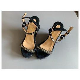 Christian Louboutin-Louboutin wedge sandals-Black