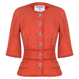 Chanel-6,7K$ Runway Tweed Jacket-Coral