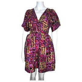 Anna Sui-Anna Sui silk dress with slip-Multiple colors