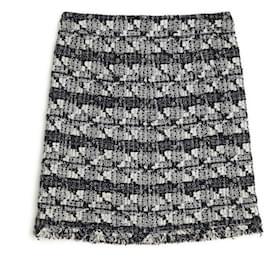 Chanel-tweed 06C GRAND CENTRAL FR42-Black,Cream