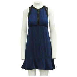 3.1 Phillip Lim-Elegant Dark Blue & Black Dress with Zipper-Blue