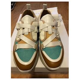 Chloé-Sonnie sneakers-White,Blue,Caramel