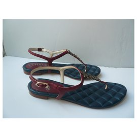 Chanel-CHANEL Leather between-fingers sandals Paris Collection Dallas 37,5 It-Navy blue