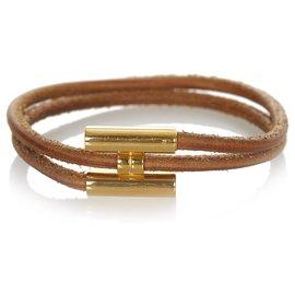 Hermès-Hermes Brown Tournis Tresse Bracelet-Brown,Golden