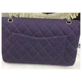 Chanel-Chanel 2.55 Reissue 227 classic Jersey flap bag-Dark purple