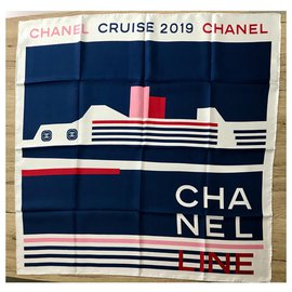 Chanel-Chanel scarf-White,Blue
