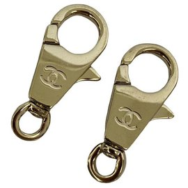 Chanel-2 Chanel gold charm carabiners hooks-Golden