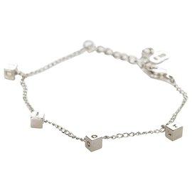 Dior-Bracelet chaîne logo argent Dior-Argenté