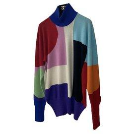 Chanel-Chanel  Multicoloured Cashmere CC Logo Turtleneck Sweater Sz 36-Multiple colors
