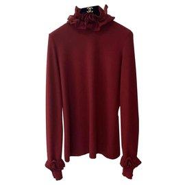 Chanel-Chanel  Dark Red Cashmere CC Logo Buttons Turtleneck Sweater Sz 38-Dark red