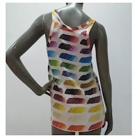 Chanel-Chanel SS 2014 Multicoloured Silk Tank Top Sz 36-Multiple colors
