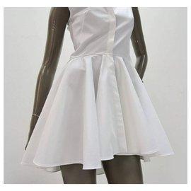 Alexander Mcqueen-Alexander McQueen White Cotton Mini  Dress Sz 40-White