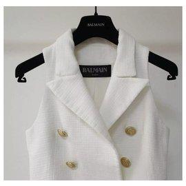 Balmain-Balmain Golden Buttons lined Breasted Sleeveless Jacket Sz 36-White