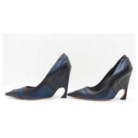 Christian Dior-NEW CHRISTIAN DIOR SHOES CHROMATIC PUMPS 37 BLUE BLACK LEATHER SHOES-Other