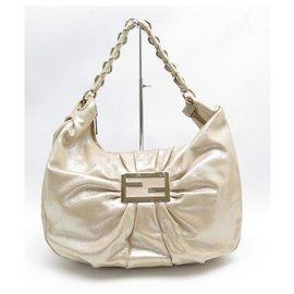 Fendi-FENDI MIA HANDBAG 8BR631 IN GOLD CANVAS 39 CM CANVAS HAND BAG PURSE-Golden