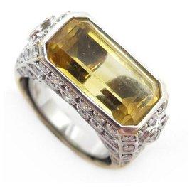 Repossi-RING REPOSSI SIGNET T50 yellow gold 18K CITRINE & DIAMONDS GOLD DIAMONDS RING-Golden