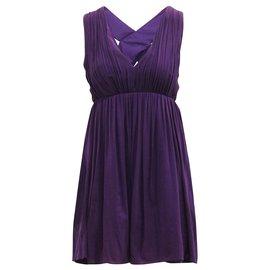 Alice + Olivia-Elegant Purple Cross Back Dress-Purple