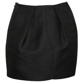 3.1 Phillip Lim-Stiff Mini Black Skirt-Black