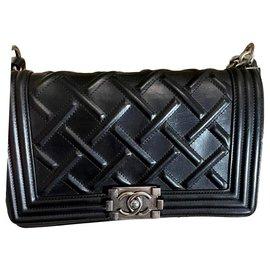 Chanel-CHANEL Celtic Medium Boy Flap Black Quilted Leather Bag-Black