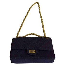 Chanel-2.55 quilted gray blue jersey-Navy blue