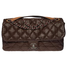 Chanel-Astonishing Chanel Classic XL bag in brown quilted leather , gussets and underside in brown glazed leather, Aged silver metal trim-Brown