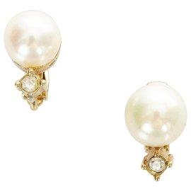 Dior-Boucles d'oreilles clips Dior en fausse perle blanches-Blanc,Doré,Autre