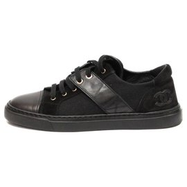 Chanel-CHANEL SNEAKERS IN SUEDE CANVAS AND BLACK CC LEATHER ON THE BACK-Black