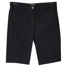 Chanel-Chanel Black Denim Bermudas Shorts Sz 38-Black