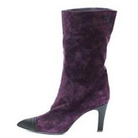 Chanel-CHANEL HIGH HEEL BOOTS IN PURPLE SUEDE POINTED BLACK SATIN-Purple