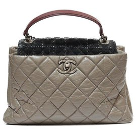 Chanel-CHANEL TROMPE OEUIL TOTE BAG IN TAUPE QUILTED LEATHER FLAP TWEED-Taupe