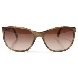 Chanel-CHANEL ECAILLE BROWN SUNGLASSES GOLD FABRIC BRANCH WITH CC LOGO-Light brown