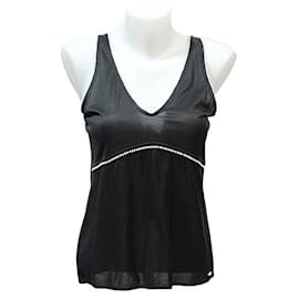 Chanel-CHANEL V-NECK TOP IN COTTON KNIT AND BLACK VISCOSE SLEEVELESS WITH ALL GANSE PEARLS-Black